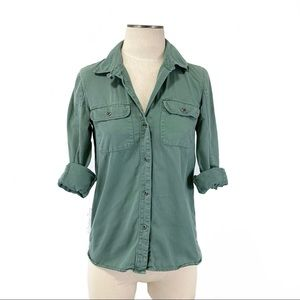 Madewell- Green Woven Cotton Button Down Shirt XS